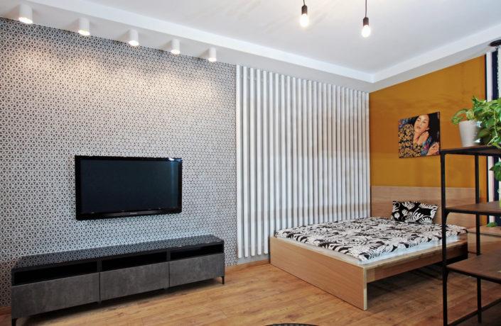 salon z sypialnia w Krakowie